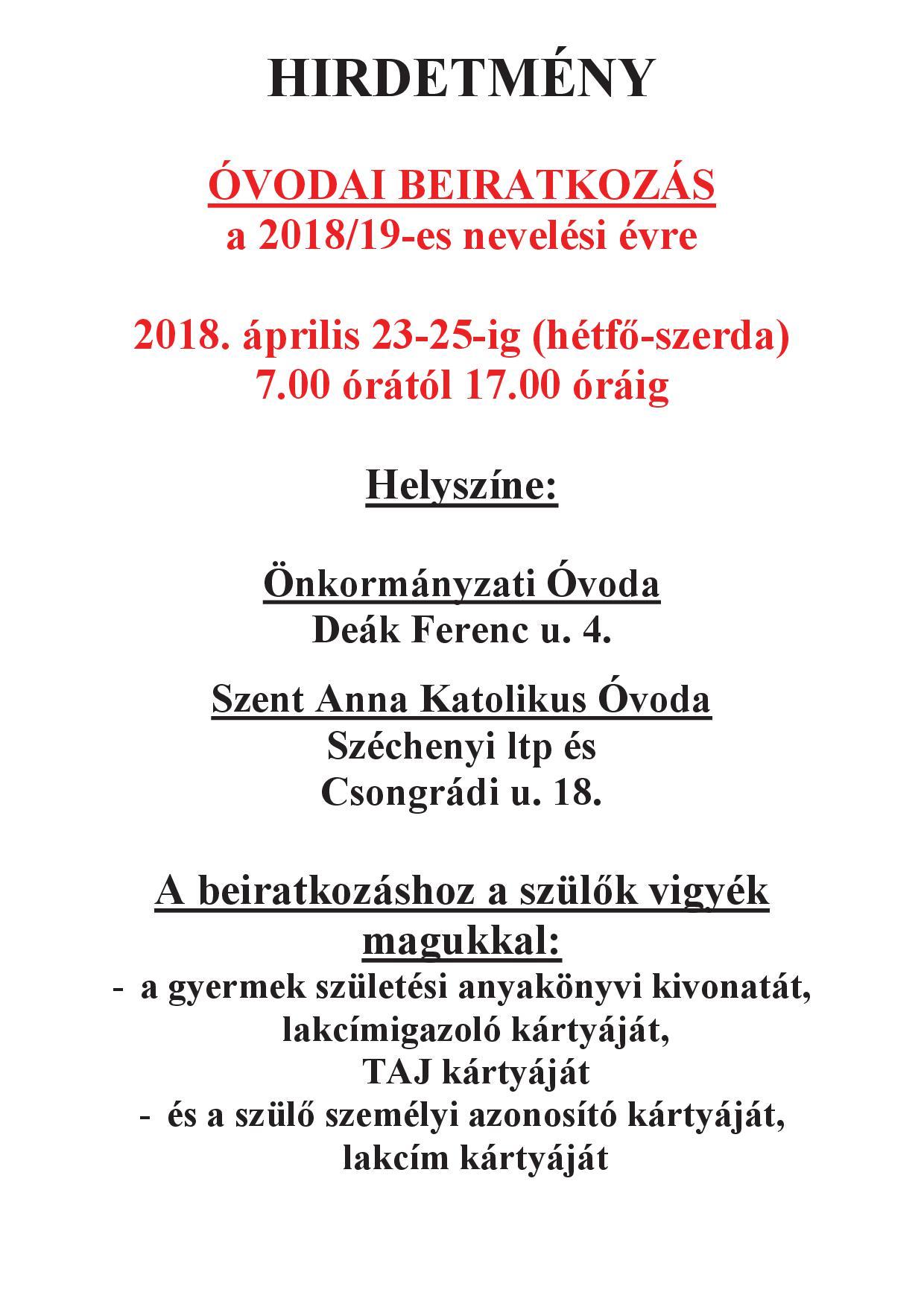 2018 beiratkozás-HIRDETMÉNY-001