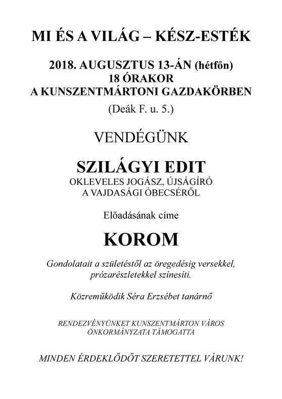 KÉSZ-esték Szilágyi Edit