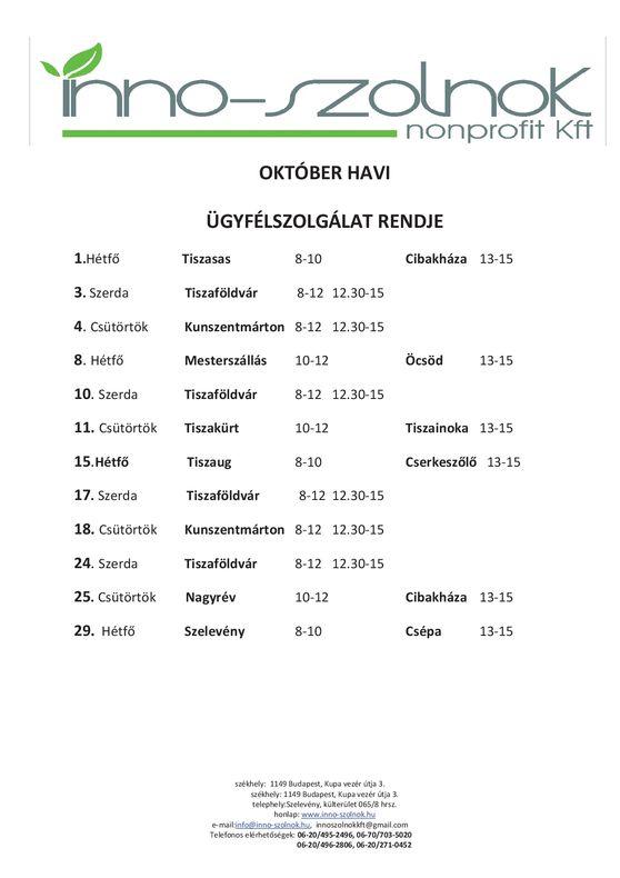 Október havi ügyfélszolgálat