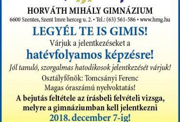 A Horváth Mihály Gimnázium várja a jelentkezőket!