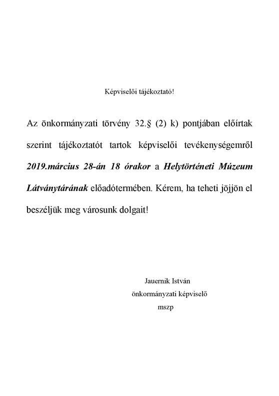 Jauernik István_Képviselői tájékoztató__
